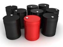 Red oil barrel in other black set Stock Image