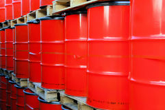 Red oil barrels Royalty Free Stock Image