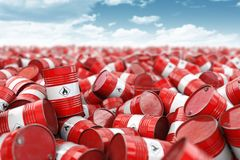 Red oil barrels. Oil and gas industry, storage, manufacturing. Chemical pollution and oil industry waste concept stock photo