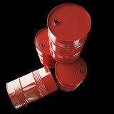 Red oil barrels isolated on black background. Royalty Free Stock Photography