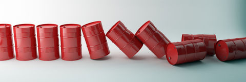 Red oil barrels isolated on white background. Falling barrels Royalty Free Stock Photo