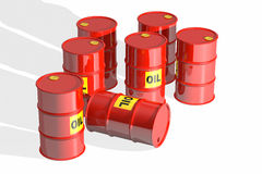 Red oil barrels Royalty Free Stock Photos