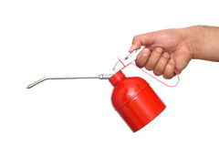 Red oil can Royalty Free Stock Images
