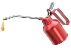 Red oil can with big droplet Stock Photos