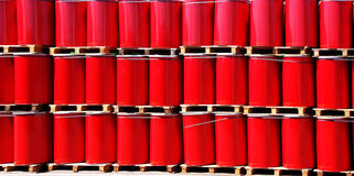 Red oil drums Stock Photography