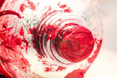 Red Oil Paint from Tube Royalty Free Stock Photo