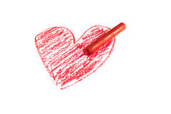 Red oil pastel stick Royalty Free Stock Photography