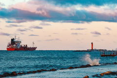 Red oil tanker. Red cargo oil tanker moving to Baltic sea Stock Photography