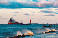 Red oil tanker. Red cargo oil tanker moving to Baltic sea Royalty Free Stock Image