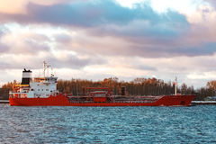 Red oil tanker. Red cargo oil tanker moving to Baltic sea Royalty Free Stock Photography