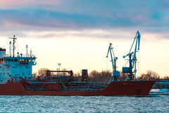 Red oil tanker. Red cargo oil tanker moving to Baltic sea Royalty Free Stock Photos