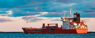 Red oil tanker. Red cargo oil tanker moving to Baltic sea Royalty Free Stock Photo
