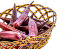 Red Okra in a Basket Stock Photo