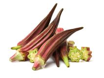 Red Okra. Isolated on white background Royalty Free Stock Images