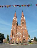 Red old beautiful church, Lithuania Royalty Free Stock Photography