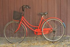 Red old bike at home. Stock Images