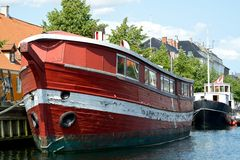Red old boat. In Copenhagen royalty free stock images