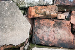 Red old broken brick. Red old brick selective focus Stock Images