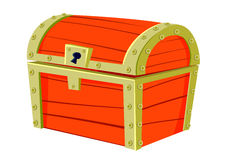 Red old chest. Red pirate old chest for treasure Royalty Free Stock Photo