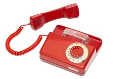 Red old classic telephone Stock Images
