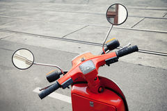 Red old classical Italian scooter handlebar Stock Photography