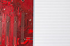 Red old dirty computer circuit board and place for text Stock Images