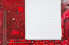 Red old dirty computer circuit board and place for text Stock Image