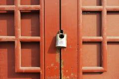 Red old door. Grunge ancient red old door Stock Photo