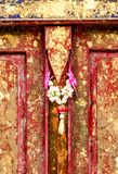 Red old door at Wat Phra That Phanom, Nakhon Phanom Province. Royalty Free Stock Photography