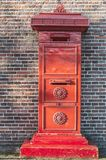 A red old dutch mailbox stock images