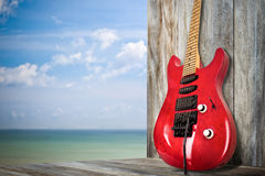 Red Old Electric Guitar Royalty Free Stock Image