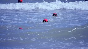 Red old enclosing buoys with green algae float on waves in the sea. On summer sunny day stock footage