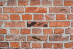 Red old faded bricks background with flaws and splits. On it surface royalty free stock images