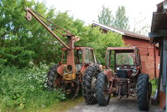 Red old farming tractor Royalty Free Stock Images