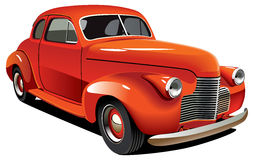 Red old-fashioned hot rod. Vectorial image of old-fashioned red hot rod, isolated on white background. Contains gradients and blends Stock Image