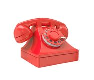 Red old-fashioned phone Stock Photos