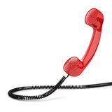 Red old-fashioned phone receiver Royalty Free Stock Photography