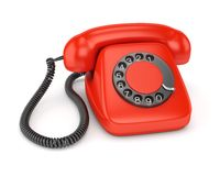 Red old-fashioned telephone Stock Photography
