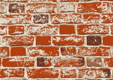Red old grunge brick wall. Red old grunge texture of brick wall. Vector illustration Royalty Free Stock Image
