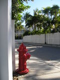 Red old hydrant on the street in key west Royalty Free Stock Photography