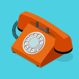 Red Old Phone Isometric View. Vector. Red Old Phone Isometric View with Rotary Dial on a Blue Background. Symbol of Support and Service Vector illustration royalty free illustration