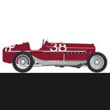 Red old racing car. On black an white background side view Stock Images