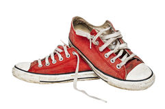 Red old retro sneakers Stock Photography
