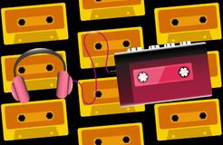 Red old retro vintage hipster realistic volumetric portable music cassette audio player for audio cassettes from the 80`s, 90`s. And headphones on the vector illustration
