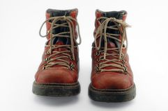 Red old shoes. With clipping path royalty free stock image