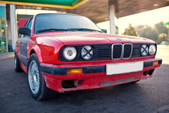 Red old sports car. (BMW E30 Stock Photo