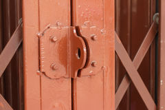 Red old steel door Royalty Free Stock Images