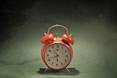 Red old style alarm clock Stock Photos
