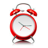 Red old style alarm clock isolated on white Royalty Free Stock Photography