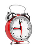 Red Old Style Alarm Clock  On White. Stock Photos